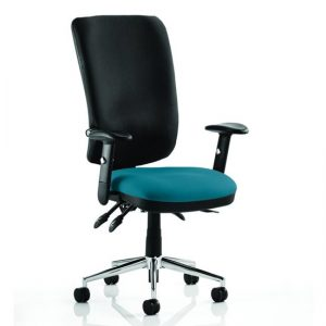 Chiro High Black Back Office Chair In Maringa Teal With Arms