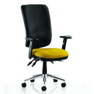 Chiro High Black Back Office Chair In Senna Yellow With Arms