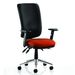 Chiro High Black Back Office Chair In Tobasco Red With Arms