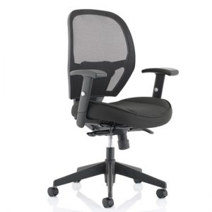 Denver Leather Mesh Office Chair In Black With Arms