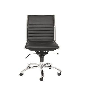 Dirk Low Back Office Chair Armless in Black design by Euro Style