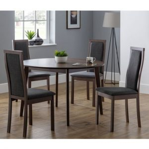 Farringdon Round Dining Set In Walnut With 4 Melrose Chairs