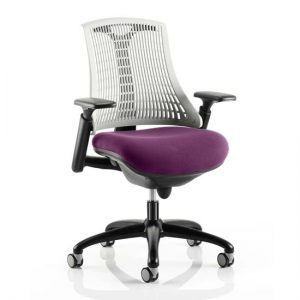 Flex Task White Back Office Chair With Tansy Purple Seat