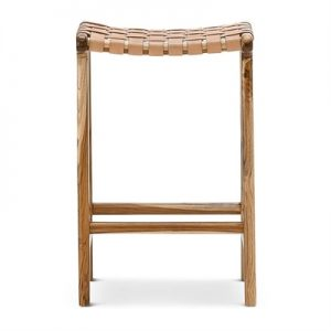 Lazie Leather Strap & Teak Tmber Counter Stool, Tan