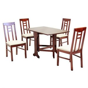 Liverpool Wooden Dining Set In Mahogany With 4 Chairs