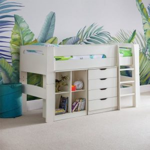 Pluto Bunk Bed With Bookcase And Chest Of Drawers In Stone White
