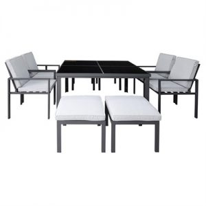 Roxburgh 9 Piece Outdoor Dining Table Set, Gunmetal