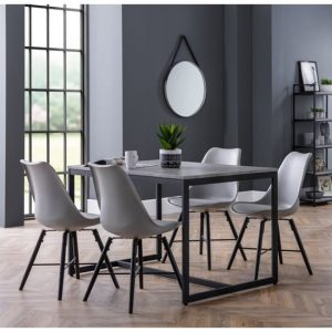 Staten Dining Set In Concrete Effect With 4 Kari Grey Chairs