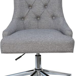 Winged Button Back Light Grey Fabric Office Chair