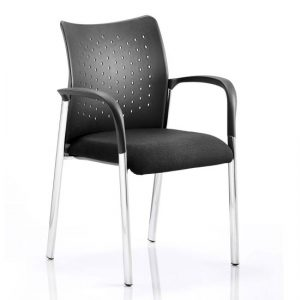 Academy Office Visitor Chair In Black With Arms