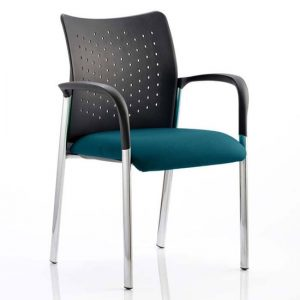 Academy Office Visitor Chair In Maringa Teal With Arms