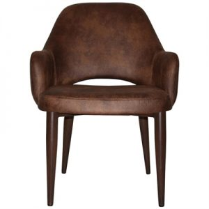 Albury Commercial Grade Eastwood Fabric Dining Tub Chair, Metal Leg, Bison / Walnut