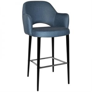 Albury Commercial Grade Gravity Fabric Bar Stool with Arm, Metal Leg, Denim / Black