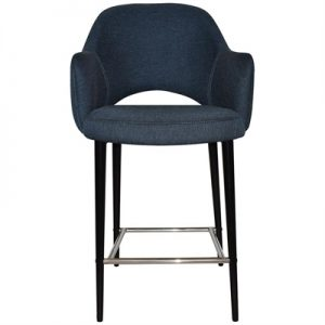 Albury Commercial Grade Gravity Fabric Counter Stool with Arm, Metal Leg, Navy / Black