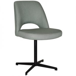 Albury Commercial Grade Gravity Fabric Dining Chair, Metal Blade Base, Cloud / Black