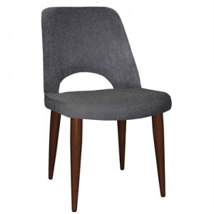 Albury Commercial Grade Gravity Fabric Dining Chair, Metal Leg, Slate / Walnut