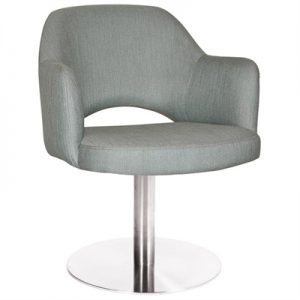 Albury Commercial Grade Gravity Fabric Dining Stool with Arm, Metal Disc Base, Cloud / Silver