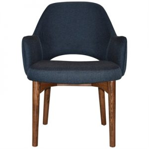 Albury Commercial Grade Gravity Fabric Dining Tub Chair, Timber Leg, Navy / Light Walnut