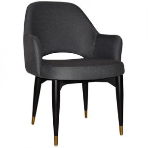 Albury Commercial Grade Gravity Fabric Dining Tub Chair, Timber Leg, Slate / Black Brass