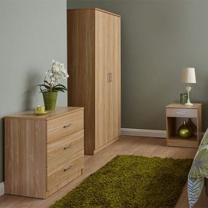 Almandite Wooden 3Pc Bedroom Furniture Set In Oak