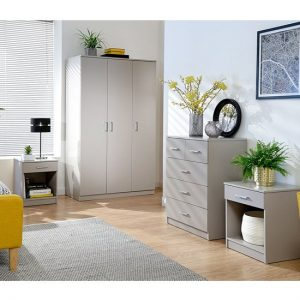 Almandite Wooden 4Pc Bedroom Furniture Set In Grey