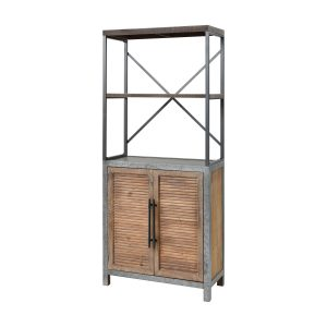 Badlands 2-Door Bookcase in Drifted Oak and Aged Iron