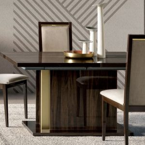 Camel Volare Day Walnut Italian Extending 140cm Dining Table with Roma Liscia Dining Chair