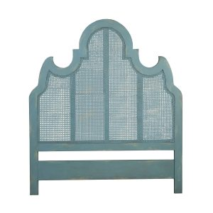 Caned King Headboard in Coastal Aqua over Scandinavian Linen