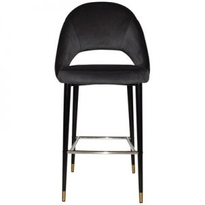 Chevron Commercial Grade Regis Fabric Bar Stool, Metal Leg, Charcoal / Black Brass