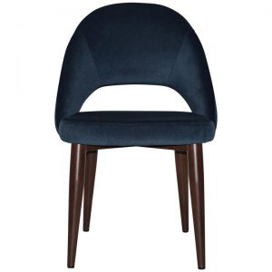 Chevron Commercial Grade Regis Fabric Dining Chair, Metal Leg, Navy / Walnut