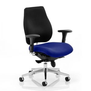Chiro Plus Black Back Office Chair With Stevia Blue Seat