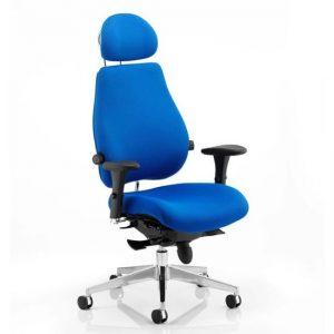 Chiro Plus Fabric Headrest Office Chair In Blue With Arms