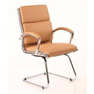 Classic Leather Office Visitor Chair In Tan With Arms