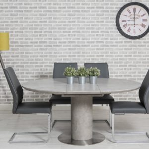 Delta Concrete Round Extending Dining Table and 4 Seattle Grey Chairs