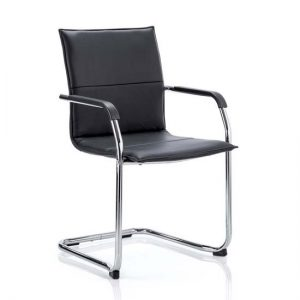 Echo Leather Cantilever Office Visitor Chair In Black With Arms