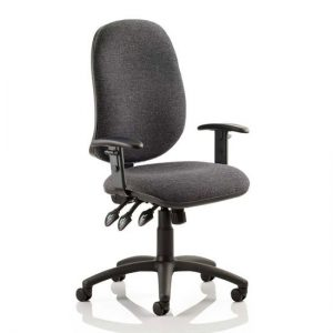Eclipse Plus XL Office Chair In Charcoal With Adjustable Arms