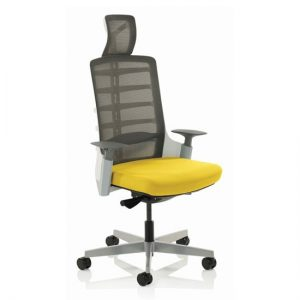 Exo Charcoal Grey Back Office Chair With Senna Yellow Seat