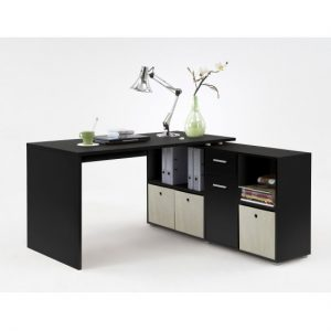 Flexi Modern Corner Computer Desk In Black