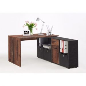 Flexi Modern Corner Computer Desk In Old Style Dark And Matera