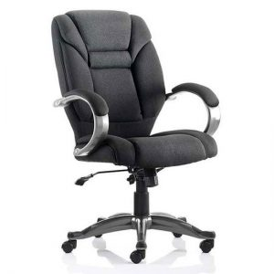 Galloway Fabric Executive Office Chair In Black With Arms