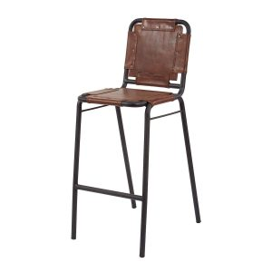 Industrial Leather + Metal Bar Stool