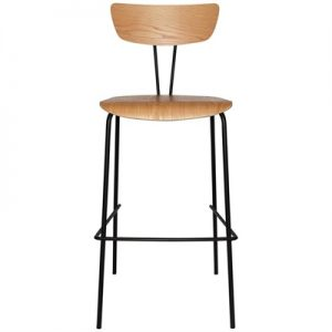 Irun Commercial Grade Wood & Metal Bar Stool, Wooden Seat, Oak / Black