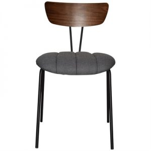 Irun Commercial Grade Wood & Metal Dining Chair, Gravity Fabric Seat, Walnut / Black / Slate