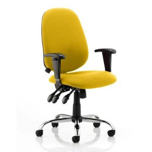 Lisbon Office Chair In Senna Yellow With Arms