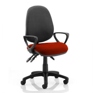 Luna III Office Chair With Tabasco Red Seat Loop Arms