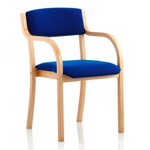 Madrid Fabric Office Visitor Chair In Blue With Arms