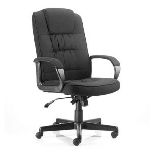 Moore Fabric Executive Office Chair In Black With Arms
