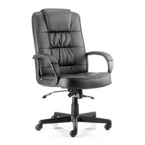 Moore Leather Executive Office Chair In Black With Arms