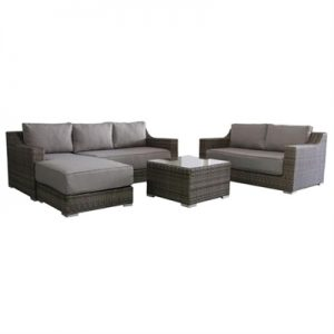Skjern 4 Piece Wicker Outdoor Lounge Set, Kubu Grey