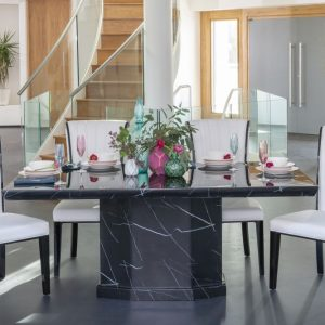Buy Urban Deco Naples Black Marble 160cm Dining Table with 4 Cadiz White Chairs and Get 2 Extra Chairs Worth £298 For FREE